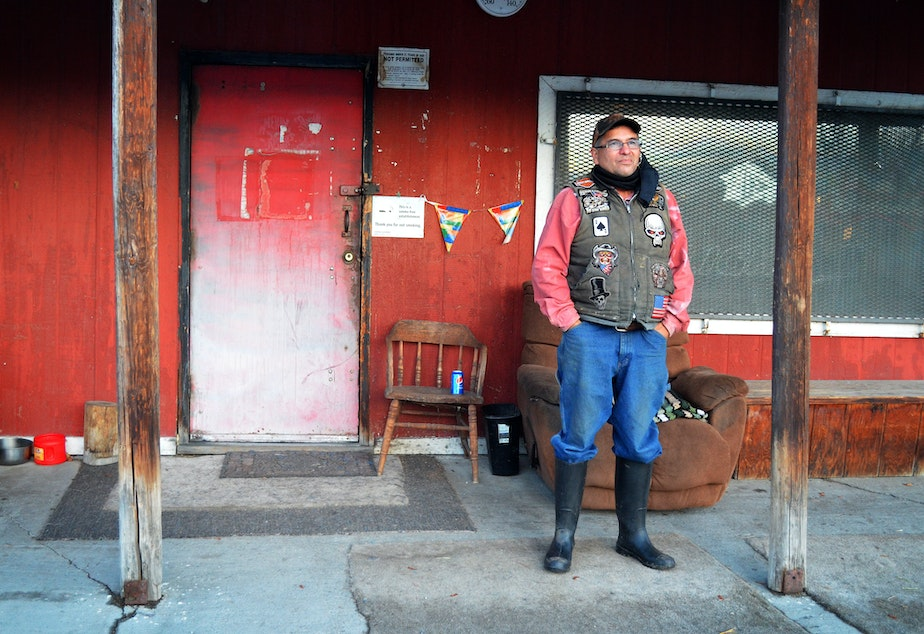 caption: Gary Carden, 63, has owned and managed Nespelem's only tavern for about 25 years.