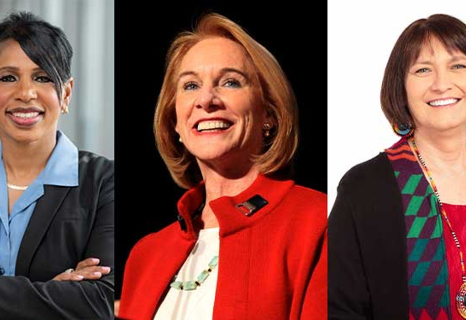 caption: Left to right: Former Seattle Police Chief Carmen Best, Seattle Mayor Jenny Durkan, and Seattle Public Schools Superintendent Denise Juneau