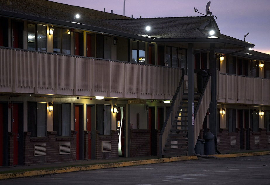 caption: A former Econo Lodge shown on Friday, March 6, 2020, on Central Avenue North in Kent. The motel was chosen as a quarantine site for people with coronavirus.