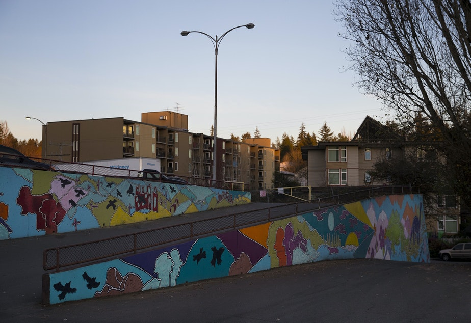 Murals are on display behind the Value Village store on Thursday, December 6, 2018, along Lake City Way Northeast in Seattle.